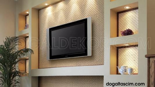 plazma televizyon ünitesi arkası patlatma doğal taş duvar kaplama