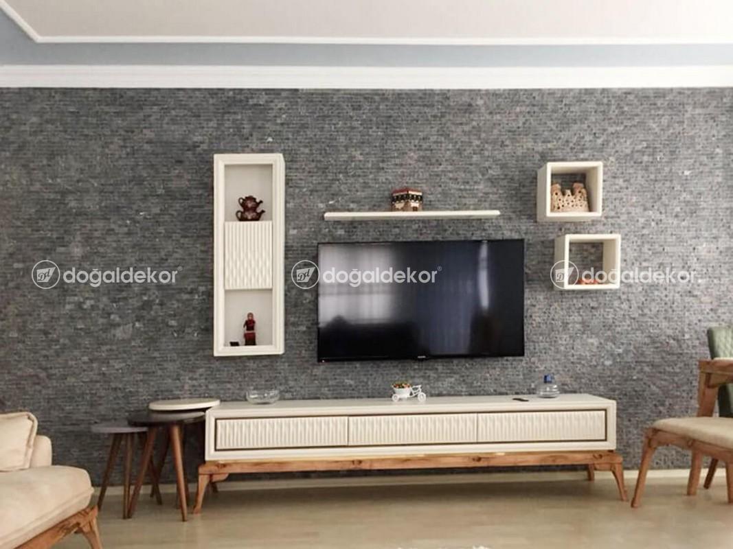 Tv Unite Arkasi Dogal Tas Kaplama Salon Dekorasyon 10