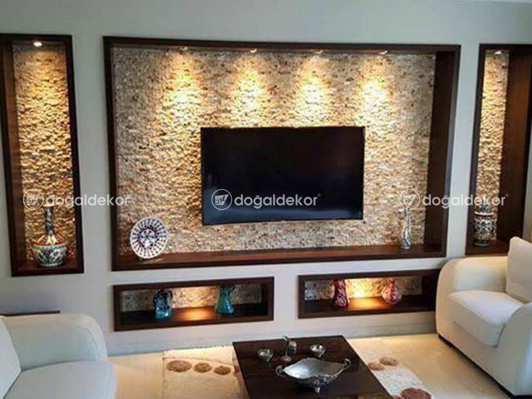 Tv Unite Arkasi Dogal Tas Kaplama Salon Dekorasyon 11