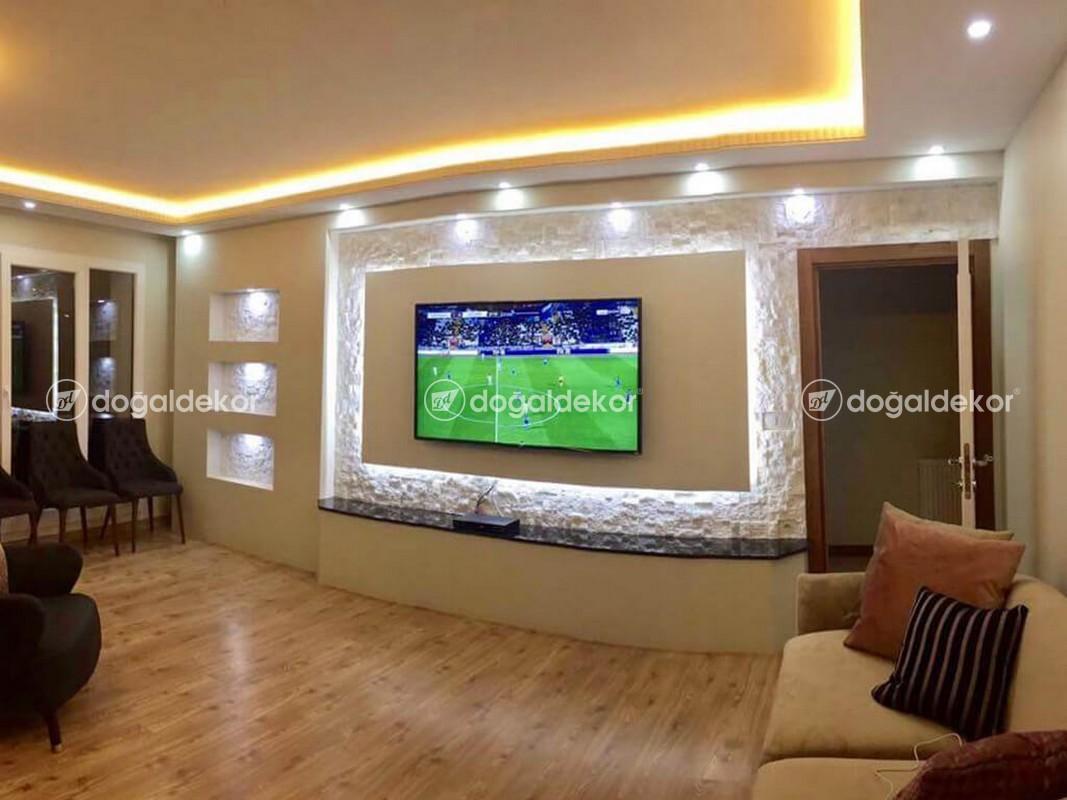 Tv Unite Arkasi Dogal Tas Kaplama Salon Dekorasyon 24