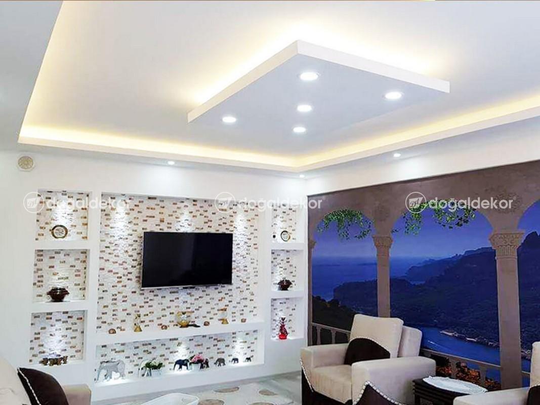 Tv Unite Arkasi Dogal Tas Kaplama Salon Dekorasyon 26