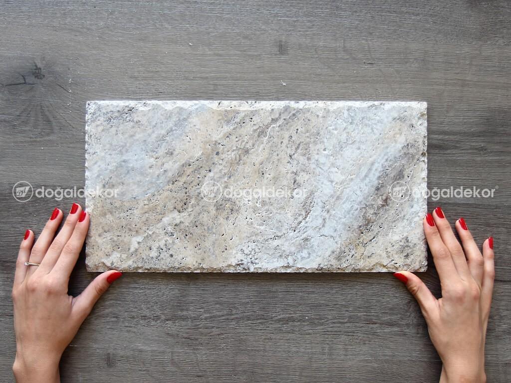 Traverten Taş Döşeme Gümüş Silver Patinato Kenar Kırma 1x20x40cm