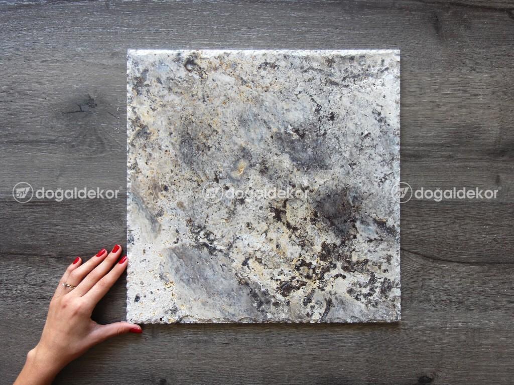 Traverten Taş Döşeme Gümüş Silver Patinato Kenar Kırma 1x40x40cm